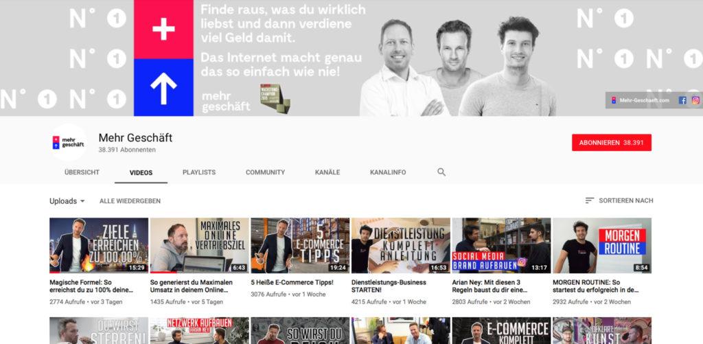 youtube-channel Mehr Geschäft – Online-Marketing